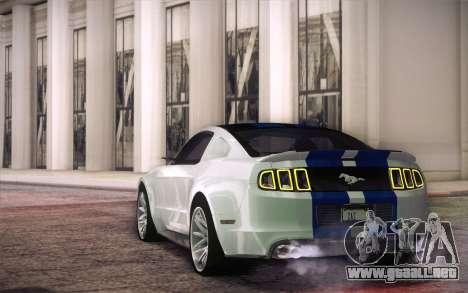 Ford Mustang 2013 - Need For Speed Movie Edition para GTA San Andreas vista posterior izquierda