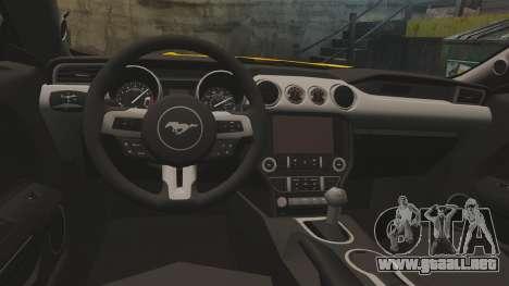 Ford Mustang GT 2015 v2.0 para GTA 4 vista interior