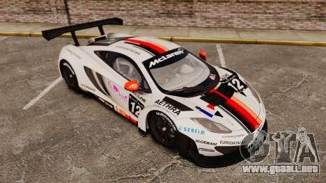 McLaren MP4-12C GT3 (Updated) para GTA 4 vista desde abajo