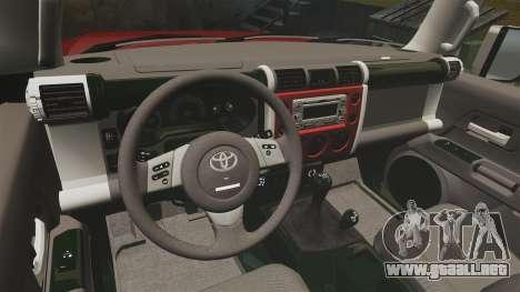 Toyota FJ Cruiser 2012 para GTA 4 vista hacia atrás