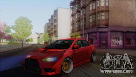 Mitsubishi Lancer X para GTA San Andreas left