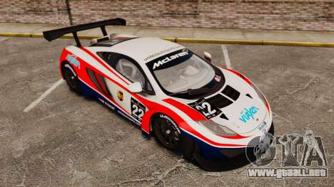 McLaren MP4-12C GT3 (Updated) para GTA 4 vista superior