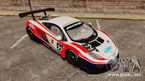 McLaren MP4-12C GT3 (Updated) para GTA 4 vista superior