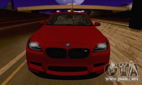 BMW M5 F10 v1.1 para GTA San Andreas vista hacia atrás