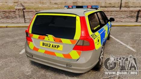 Volvo V70 ANPR Interceptor [ELS] para GTA 4 Vista posterior izquierda