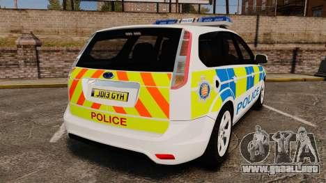 Ford Focus Estate Essex Police [ELS] para GTA 4 Vista posterior izquierda