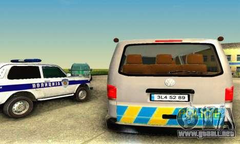 Volkswagen Transporter Policie para GTA San Andreas vista posterior izquierda