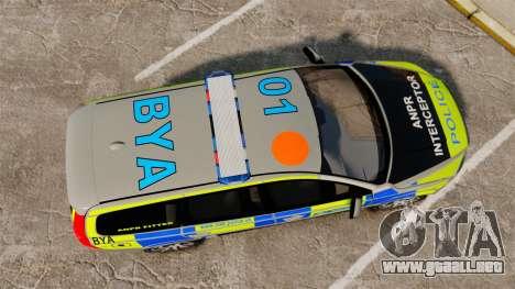 Volvo V70 ANPR Interceptor [ELS] para GTA 4 visión correcta