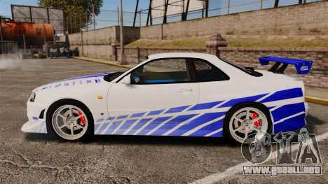 Nissan Skyline GT-R R34 V-Spec 1999 para GTA 4 left