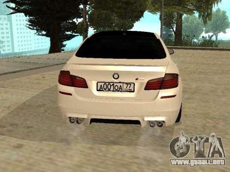 BMW M5 F10 V2.0 para GTA San Andreas vista posterior izquierda