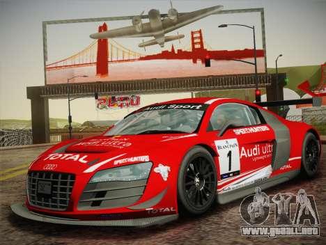 Audi R8 LMS Ultra W-Racing Team Vinyls para GTA San Andreas vista hacia atrás