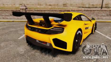 McLaren MP4-12C GT3 (Updated) para GTA 4 Vista posterior izquierda