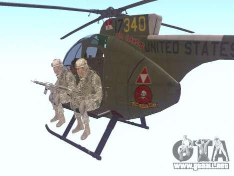 OH-6 Cayuse para GTA San Andreas vista posterior izquierda