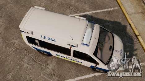 Volkswagen Transporter T5 TDI POLIISI [ELS] para GTA 4 visión correcta