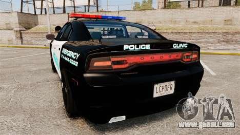 Dodge Charger 2011 Liberty Clinic Police [ELS] para GTA 4 Vista posterior izquierda