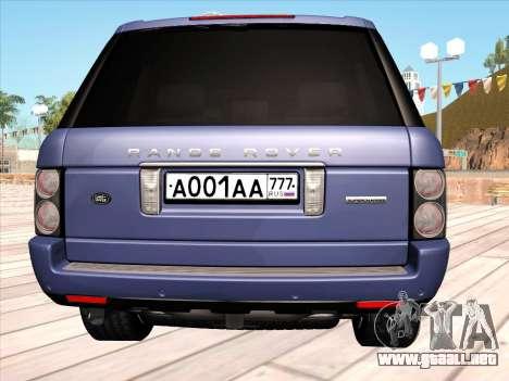 Land Rover Supercharged Stock 2010 V2.0 para GTA San Andreas vista hacia atrás