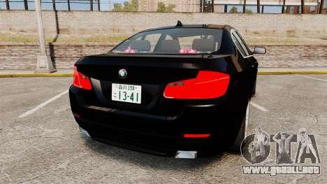 BMW M5 F10 2012 Japanese Unmarked Police [ELS] para GTA 4 Vista posterior izquierda