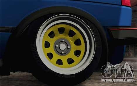 Volkswagen Golf MK2 LowStance para GTA San Andreas vista hacia atrás