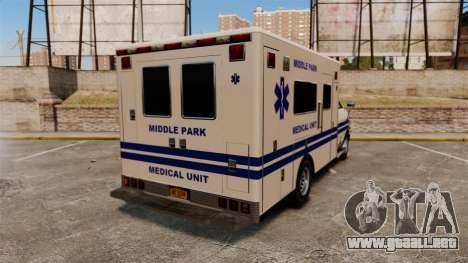 Brute MPMU Ambulance para GTA 4 Vista posterior izquierda