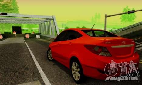 Hyndai Solaris para GTA San Andreas vista hacia atrás