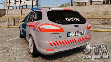 Ford Mondeo Hungarian Police [ELS] para GTA 4 Vista posterior izquierda