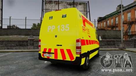 Mercedes-Benz Sprinter Finnish Ambulance [ELS] para GTA 4 Vista posterior izquierda