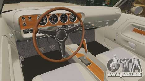 Dodge Challenger RT 1972 para GTA 4 vista interior