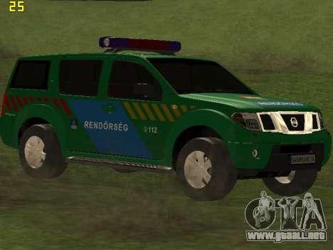 Nissan Pathfinder Police para GTA San Andreas vista hacia atrás