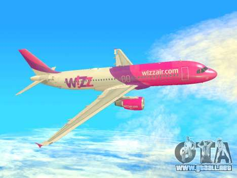 Airbus A320-200 WizzAir para vista inferior GTA San Andreas
