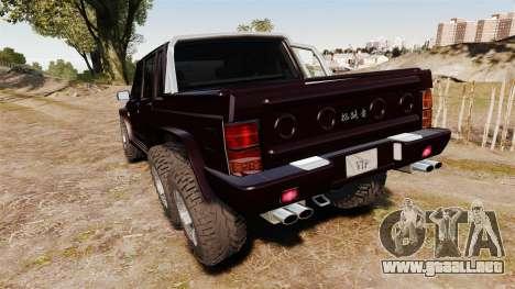 Jeep Carver 6X6 para GTA 4 Vista posterior izquierda