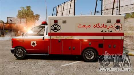 Iraní de pintura ambulancia para GTA 4 left