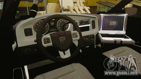 Dodge Charger 2011 Liberty Clinic Police [ELS] para GTA 4 vista hacia atrás