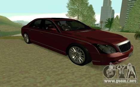 Maybach 57 TT Black Revel para GTA San Andreas vista posterior izquierda