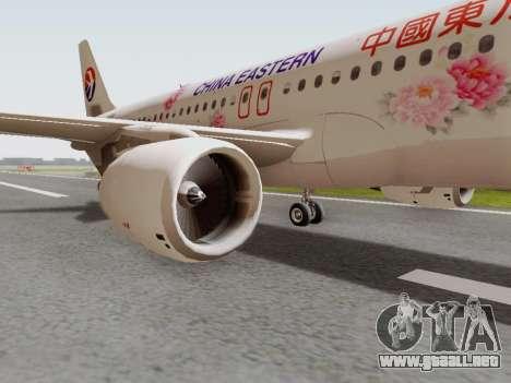 Airbus A320-211 China Eastern para GTA San Andreas vista hacia atrás