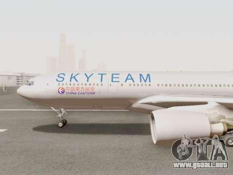 A330-202 China Eastern para GTA San Andreas vista posterior izquierda