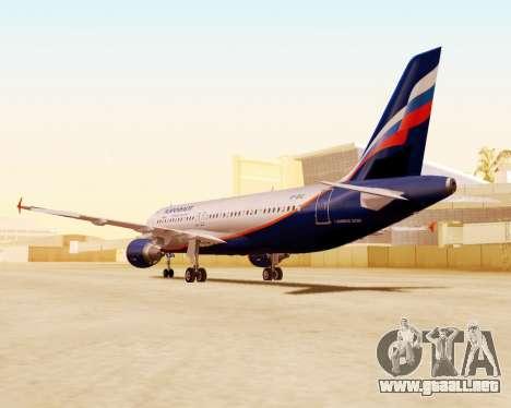 Airbus A320-200 De Aeroflot para visión interna GTA San Andreas