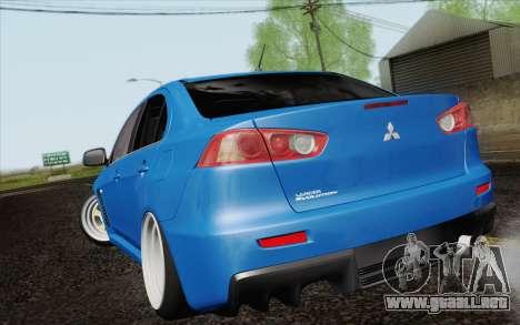 Mitsubishi Lancer Evo X GangLow para GTA San Andreas left