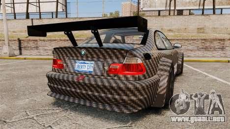 BMW M3 GTR 2012 Drift Edition para GTA 4 Vista posterior izquierda