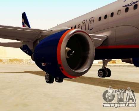 Airbus A320-200 De Aeroflot para GTA San Andreas vista posterior izquierda