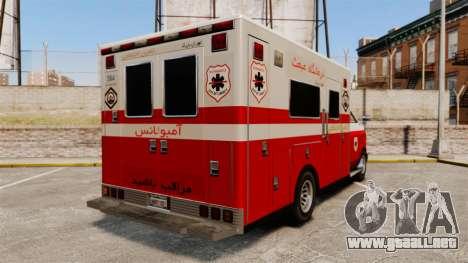 Iraní de pintura ambulancia para GTA 4 Vista posterior izquierda