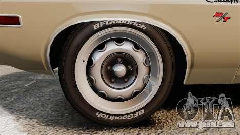 Dodge Challenger RT 1972 para GTA 4 vista hacia atrás