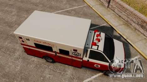 Iraní de pintura ambulancia para GTA 4 visión correcta