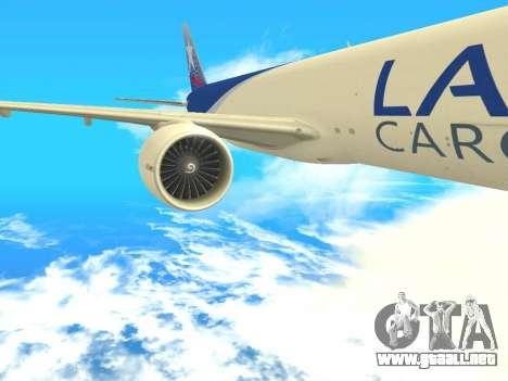 Boeing 777 LAN Cargo para GTA San Andreas vista hacia atrás