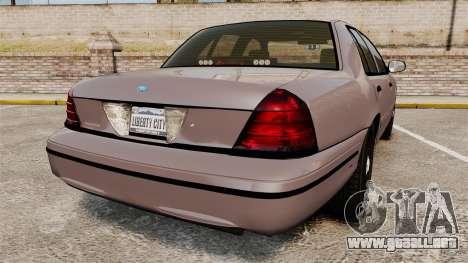 Ford Crown Victoria 2008 LCPD Detective [ELS] para GTA 4 Vista posterior izquierda