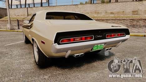Dodge Challenger RT 1972 para GTA 4 Vista posterior izquierda