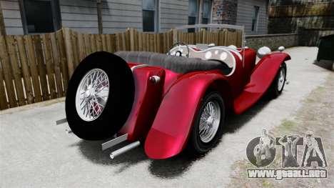 Jaguar SS100 para GTA 4 Vista posterior izquierda