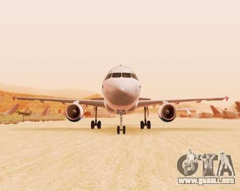 Airbus A320-200 De Ural Airlines para GTA San Andreas vista posterior izquierda