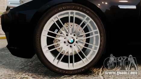BMW M5 F10 2012 Japanese Unmarked Police [ELS] para GTA 4 vista hacia atrás