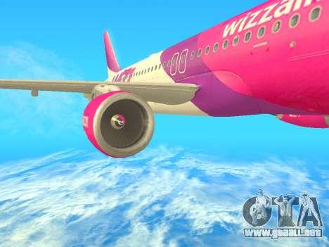 Airbus A320-200 WizzAir para GTA San Andreas vista posterior izquierda