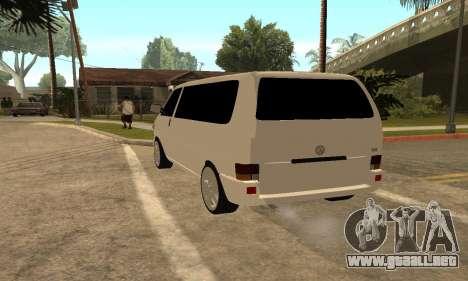 Volkswagen T4 Transporter para GTA San Andreas vista posterior izquierda